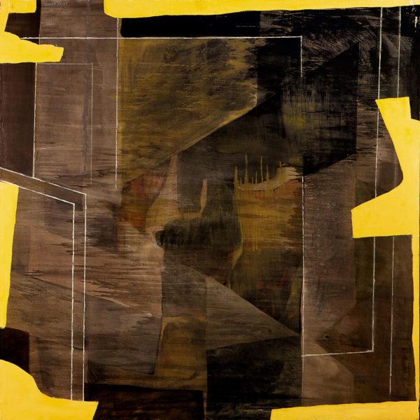 Muro de Boscoreale sobre amarillo con trazas